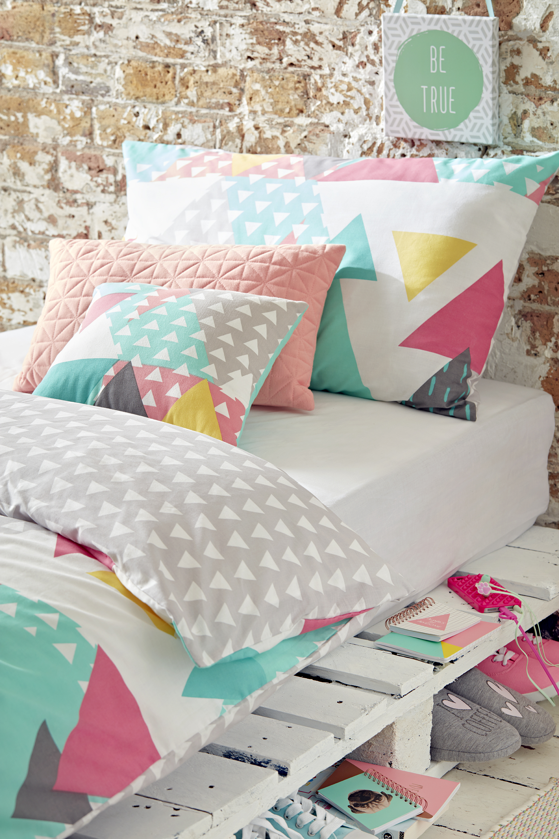 Scandi Cool Bedroom - Geo Print Duvet, €16 $20, Wall art, €2 $2.50 for set of three, other cushions from €6 $7