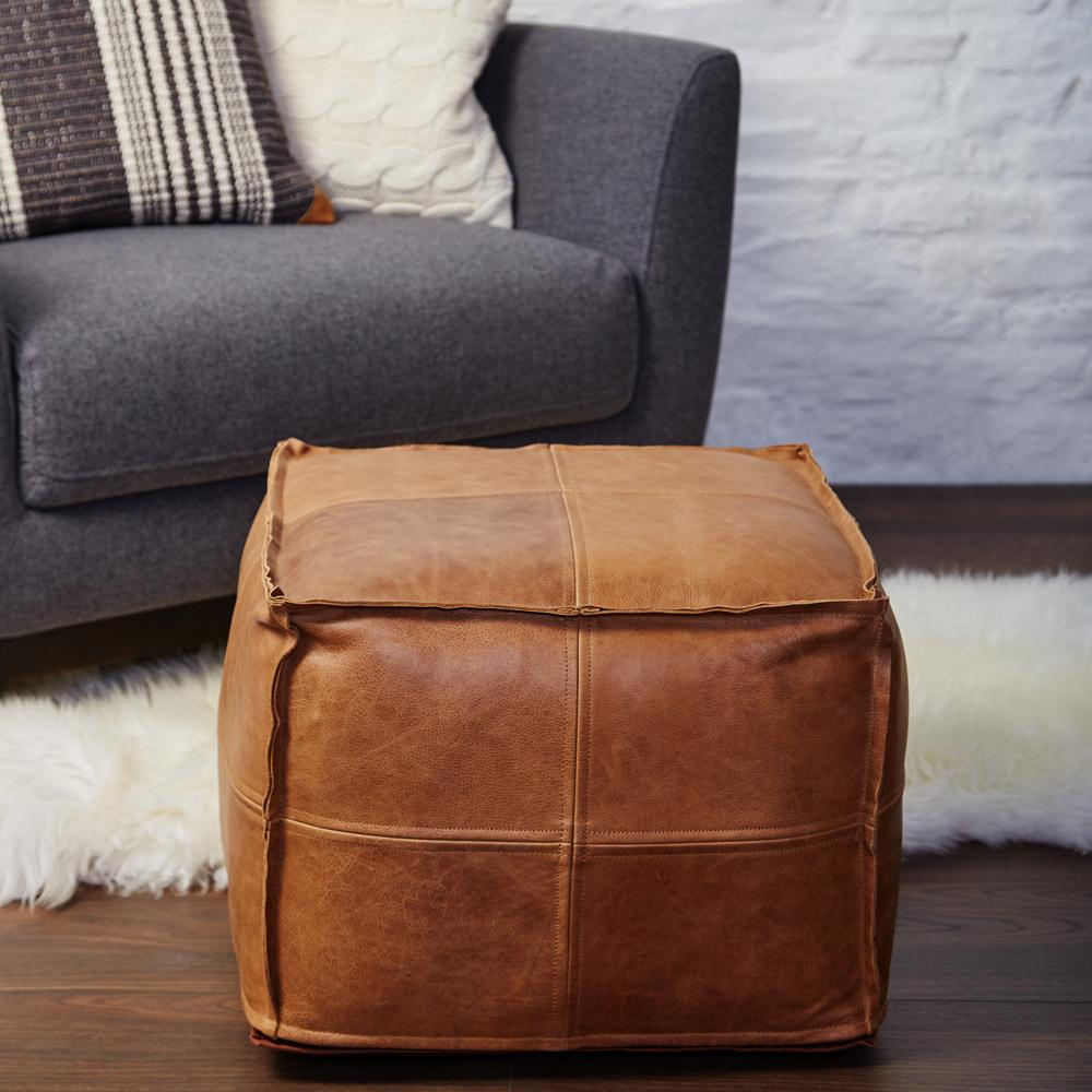 pretty pouffes the perfect way to add some luxury to your gaff  - leather pouffe meadows and byrne connemara square