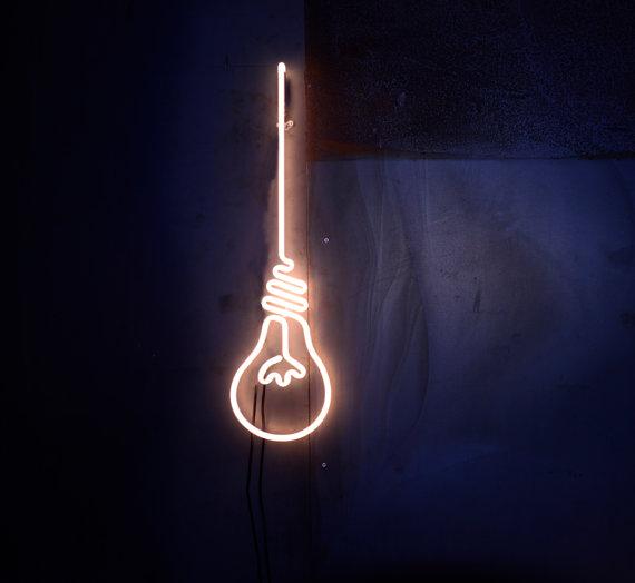 neon lightbulb sign