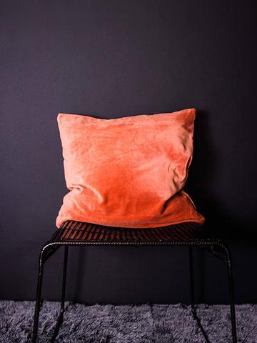 dust.ie orange velvet cushion