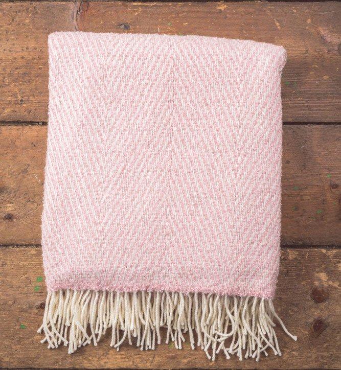 throw mohair pink herringbone foxford